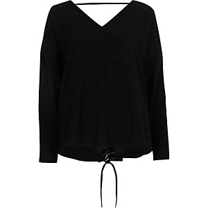 Black lace-up back long sleeve top
