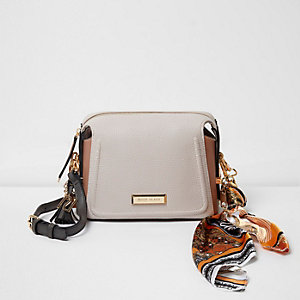Cream scarf strap cross body chain bag