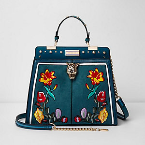 Green jaguar head floral embroidered tote bag
