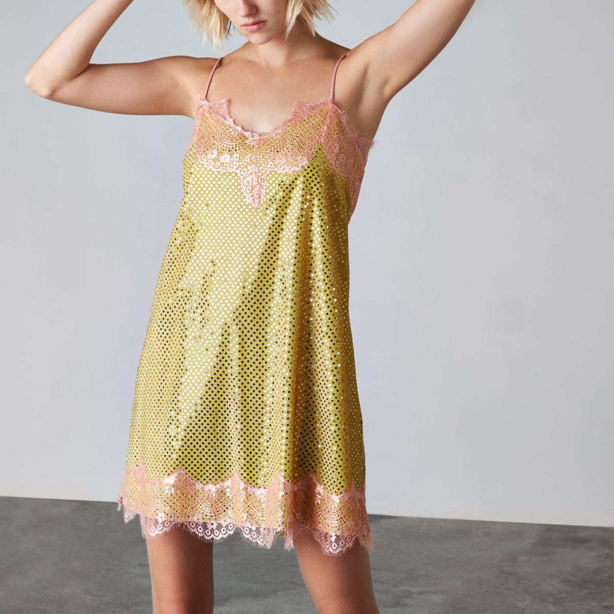 Yellow Ashish sequin lace slip dress