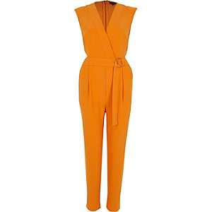 Orange sleeveless tailored jumpsuit