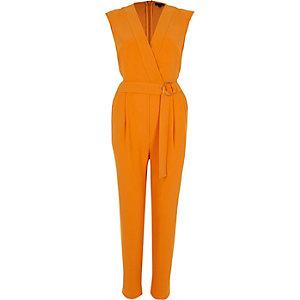 Oranje mouwloze tailored jumpsuit