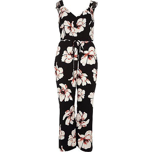 Black floral print culotte tie waist jumpsuit