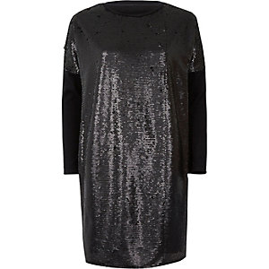 T-shirt oversize noir à sequins à manches longues