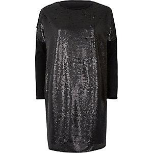 Zwart oversized T-shirt met lovertjes en lange mouwen