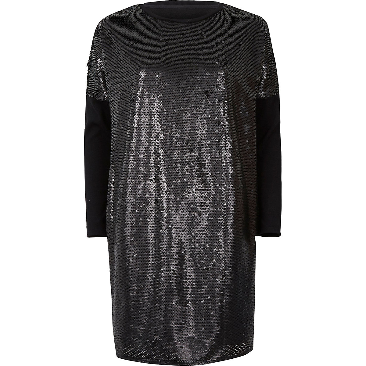 Black sequin oversized long sleeve T-shirt