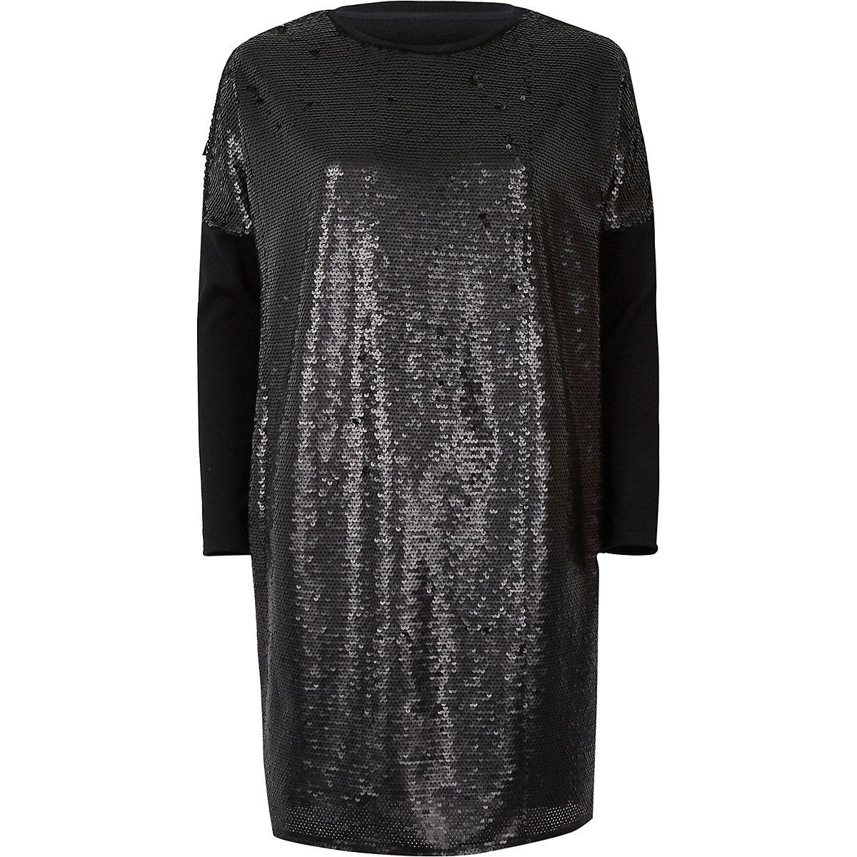 Black sequin oversized long sleeve T-shirt
