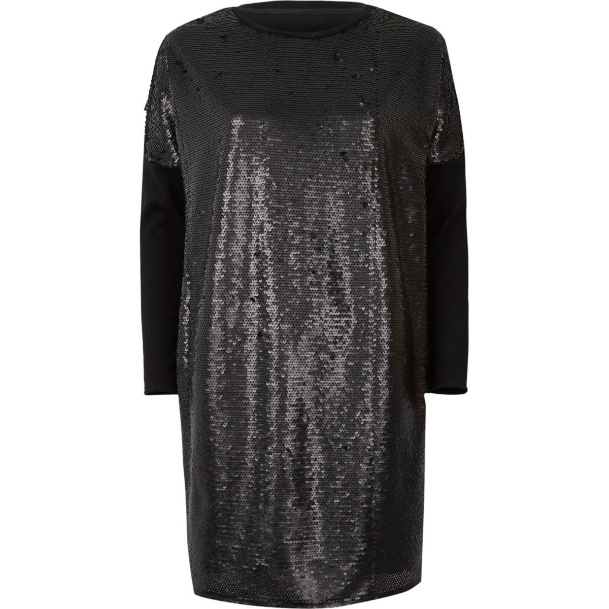 Black sequin oversized long sleeve t shirt tops sale for Long sleeve black tee shirts