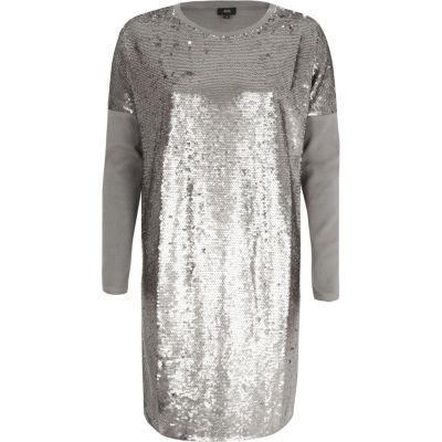 River Island Zilverkleurig oversized T-shirt met lovertjes en lange mouwen