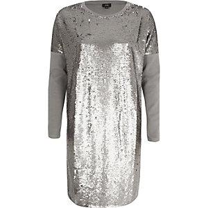 Zilverkleurig oversized T-shirt met lovertjes en lange mouwen
