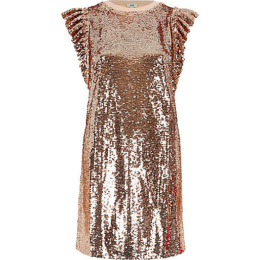 Rose gold tone sequin frill oversized T-shirt