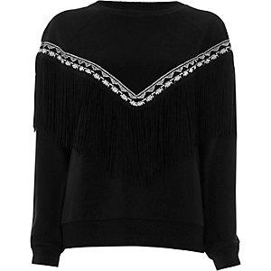 Zwart geborduurd sweatshirt met kwastjes voor