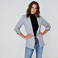 Light grey marl bar cuff blazer