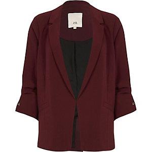 Dark red bar cuff blazer