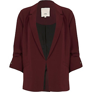 Dark red bar cuff blazer