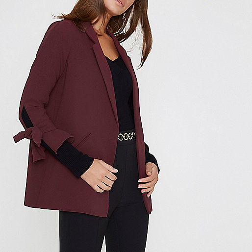 Dark red tie cuff blazer