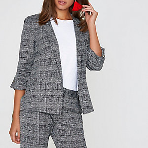 Grey check bar cuff blazer