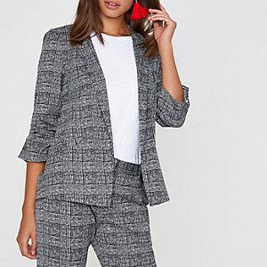 Grey check bar cuff blazer