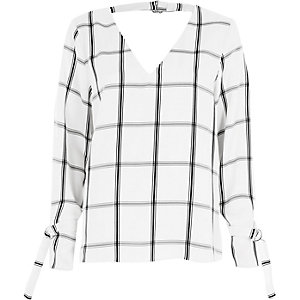 White check tie cuff long sleeve top