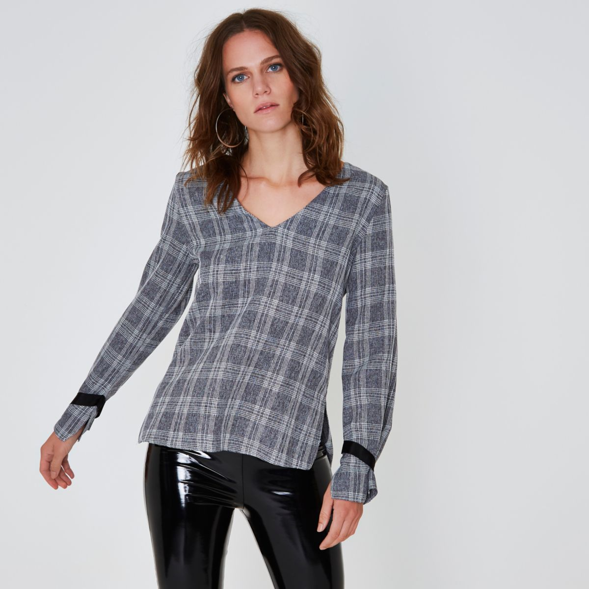 Grey check D-ring tie back top