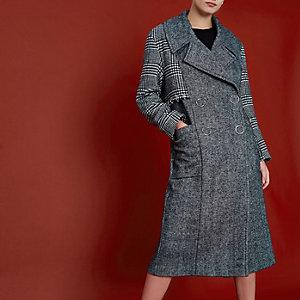 RI Studio – Manteau à carreaux noir clouté