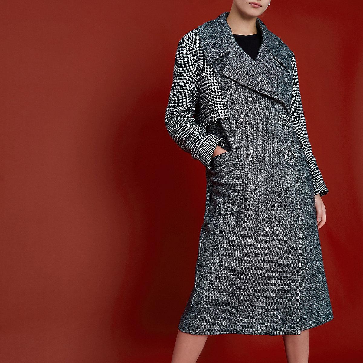 RI Studio - Zwarte geruite jas met geperforeerde zoom
