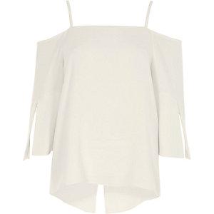 Cream bardot split sleeve top