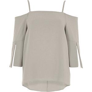 Grey bardot split sleeve top