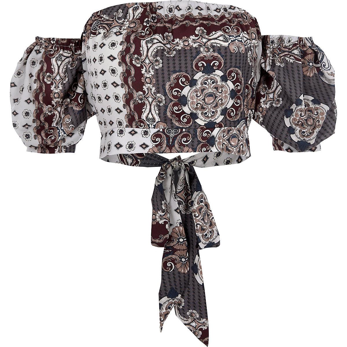 Cream scarf print bardot puff sleeve crop top
