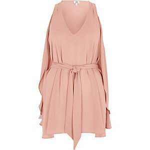 Light pink V neck wrap top