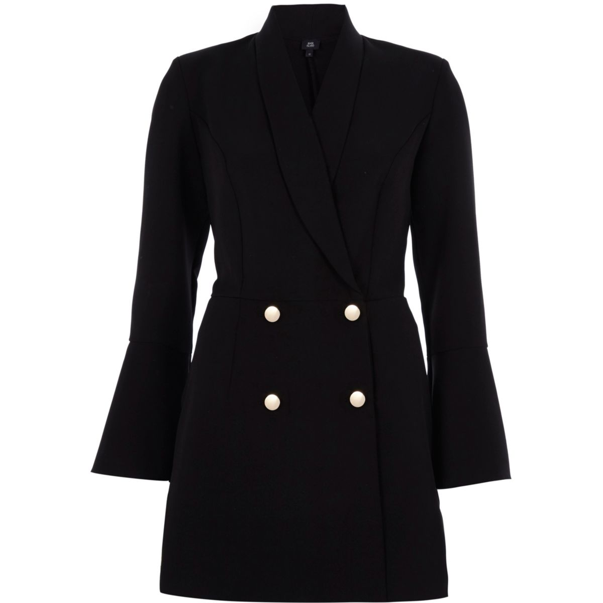 Black bell sleeve tuxedo playsuit