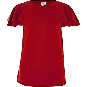 T-shirt rouge à manches courtes en tulle