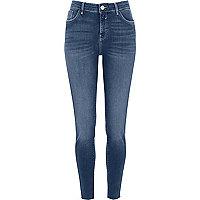 Amelie - Middenblauwe superskinny jeans met onafgewerkte zoom