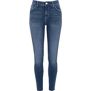 Mid blue Amelie raw hem super skinny jeans