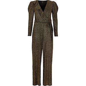 Gold metallic glitter frill wrap jumpsuit