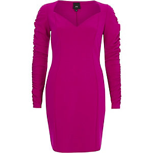 Bright purple ruched sleeve bodycon dress
