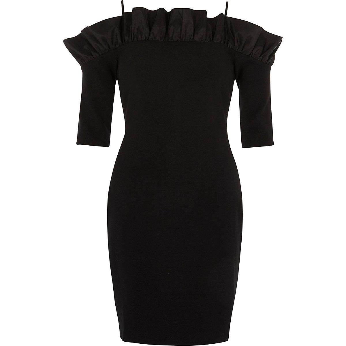 Black bardot frill bodycon mini dress