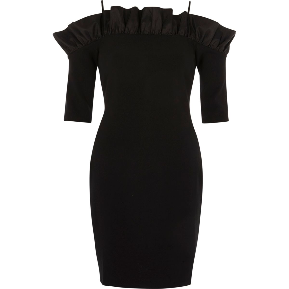 Black bardot frill bodycon mini dress