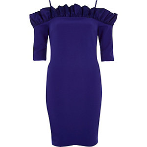 Blue bardot frill bodycon mini dress