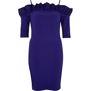Blauwe mini-jurk in bardotstijl met ruches