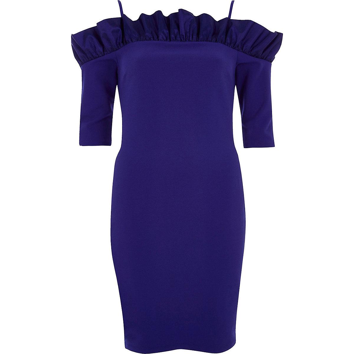 Blue bardot frill bodycon mini dress