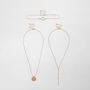 Rose gold tone circle choker set