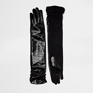 Black ruched long leather gloves