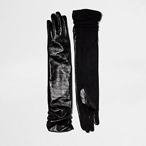 Zwarte lange leren handschoenen met ruches