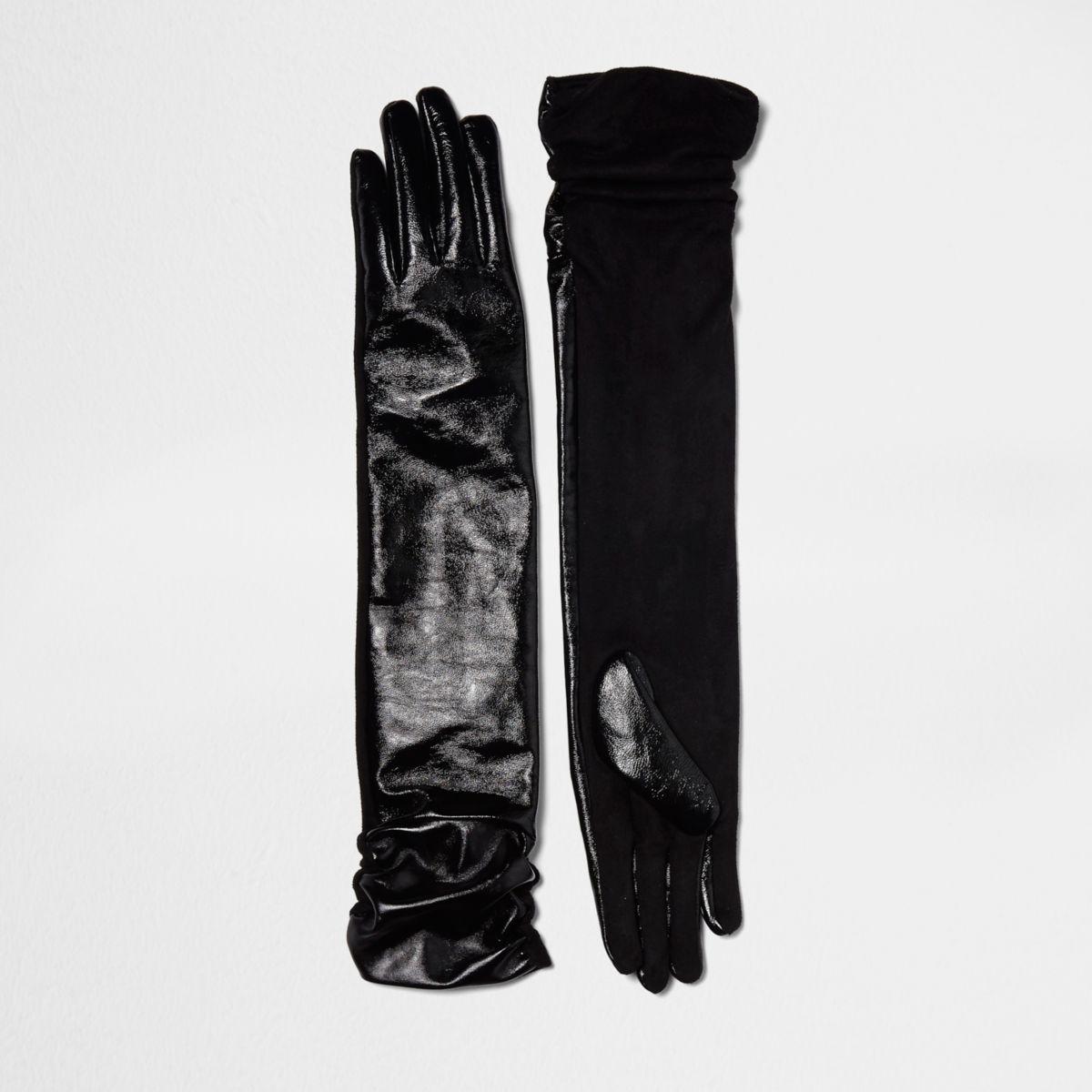 Schwarze, lange Lederhandschuhe