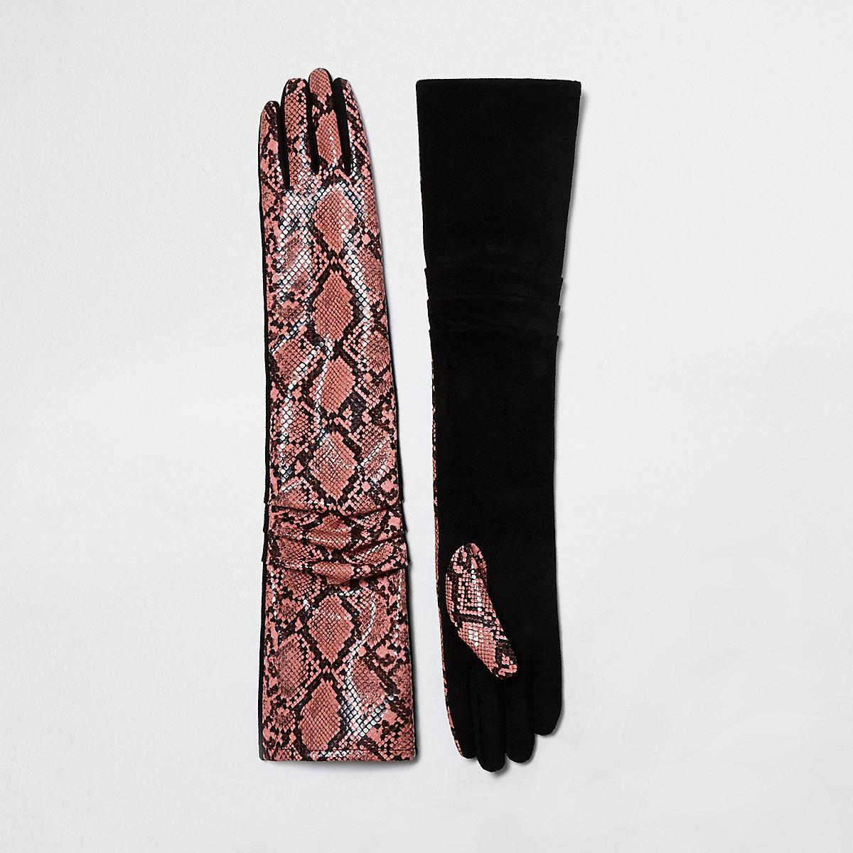 Pink snake print ruched evening gloves