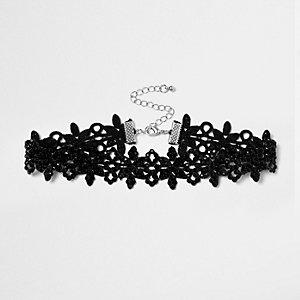 Zwarte kanten chokerketting met siersteentjes