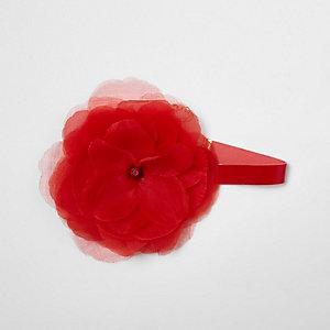 Ras-de-cou rouge avec fleur oversize