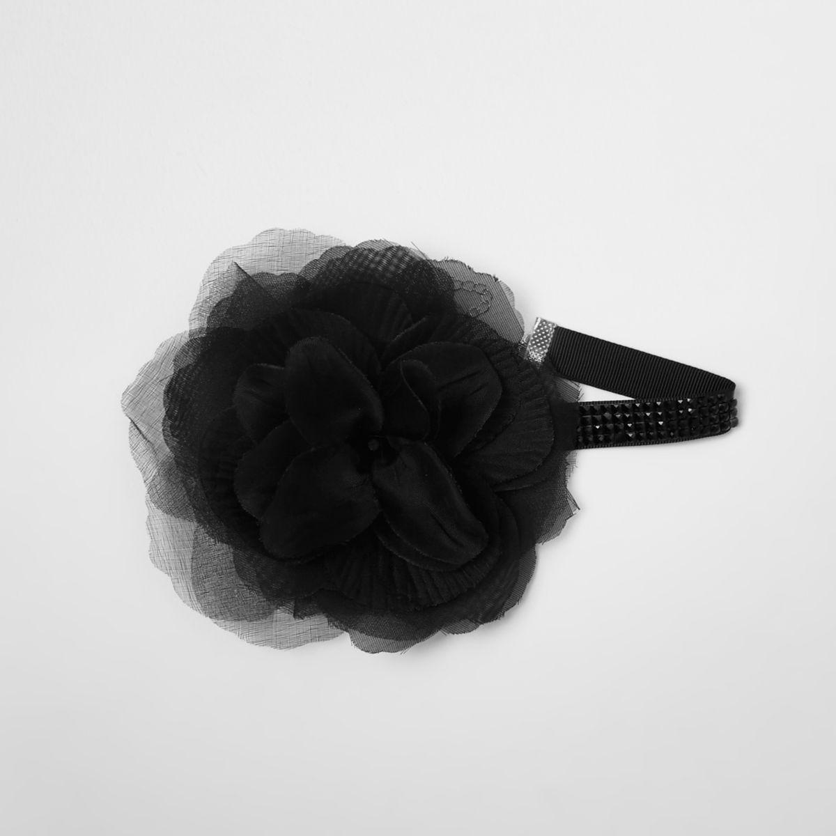 Black oversized flower corsage choker