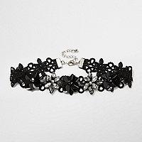 Zwarte chokerketting met 3D bloemen en kant